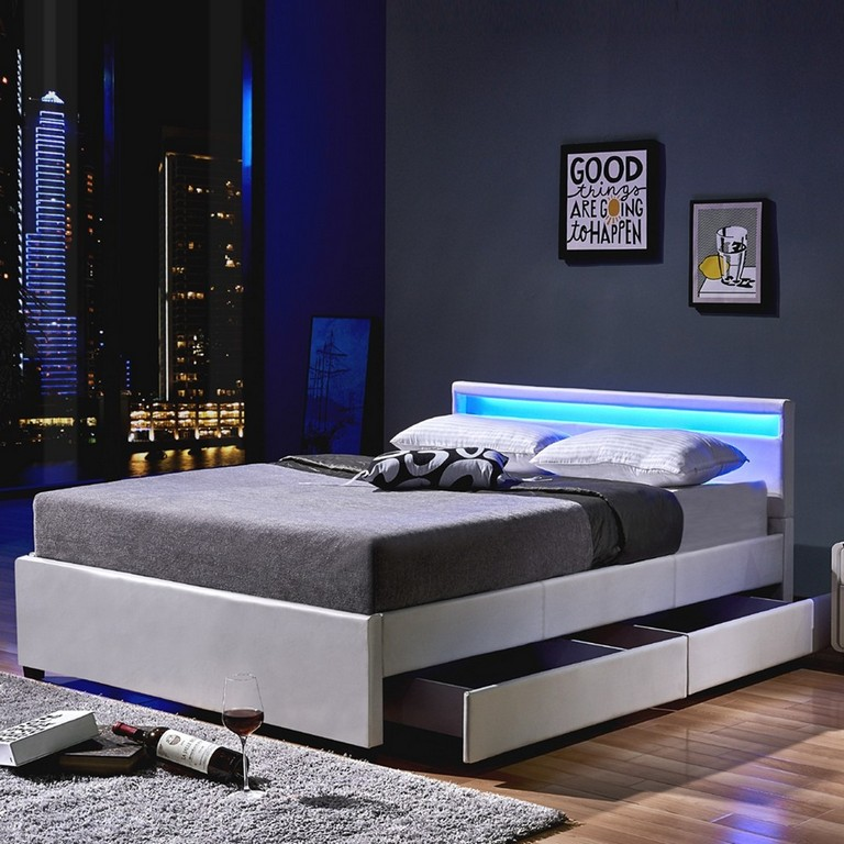 Led Bett Nube Mit Schubladen 180 X 200 Wei for dimensions 1000 X 1000