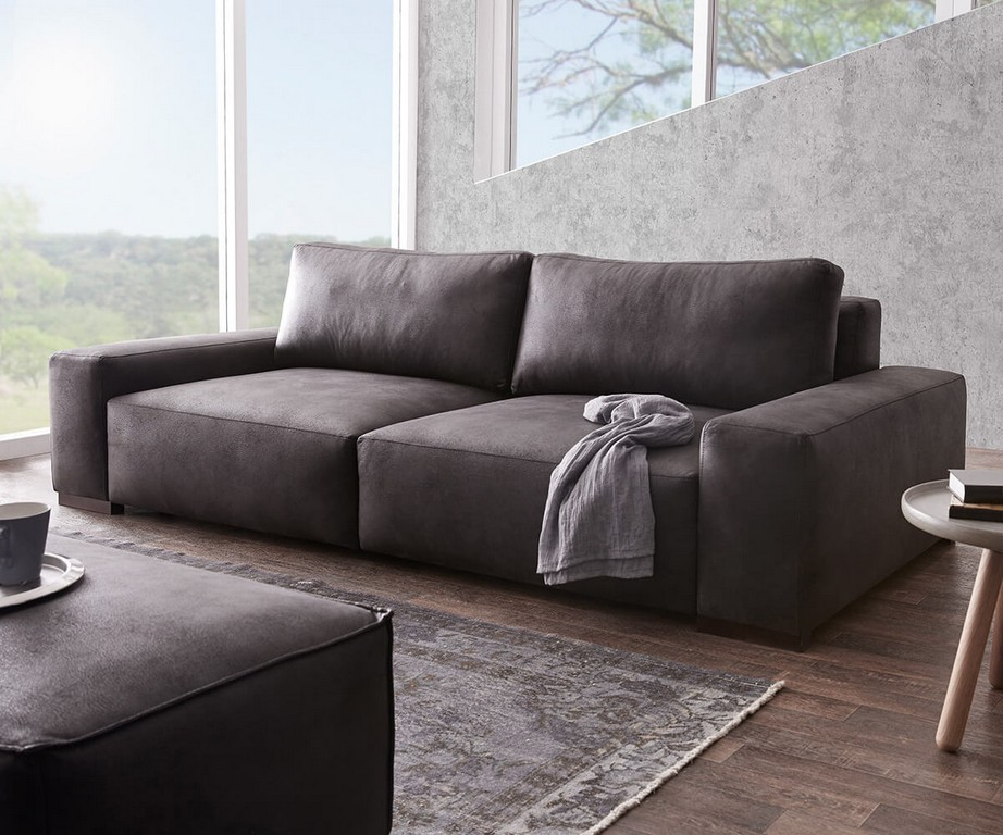 Bigsofa Lanzo Xl Anthrazit 270x125 Cm Vintage Optik Mit Kissen Big Sofa with regard to proportions 1200 X 1000