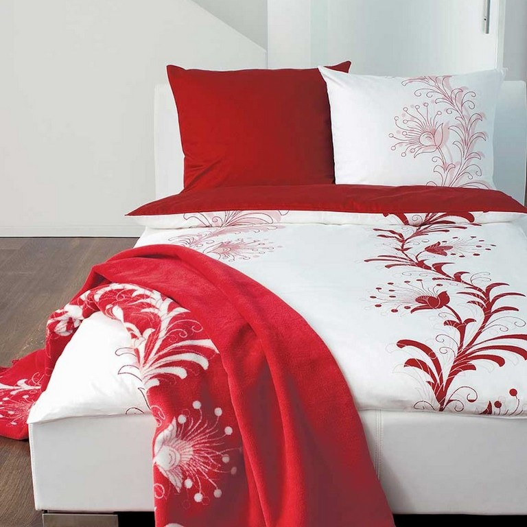 Soliver Bettwsche Satin In Weiss Rot Mit Blumen Muster pertaining to proportions 1000 X 1000