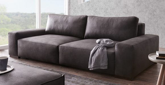 Bigsofa Lanzo Xl Anthrazit 270×125 Cm Vintage Optik Mit Kissen Big Sofa throughout dimensions 1200 X 1000