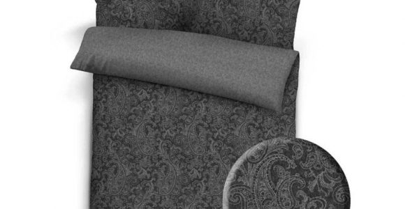Flanell Melange Bettwsche Paisley 135×200 Schwarz Grau within proportions 960 X 960